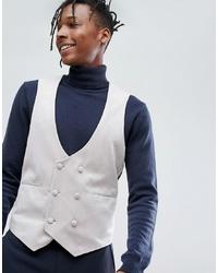 Chaleco de vestir de terciopelo gris de ASOS DESIGN