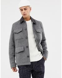 Chaqueta campo de lana gris de ASOS DESIGN