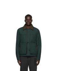 Chaqueta con cuello y botones acolchada verde oscuro de Craig Green