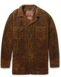 Chaqueta con cuello y botones de ante en marrón oscuro de Jean Shop