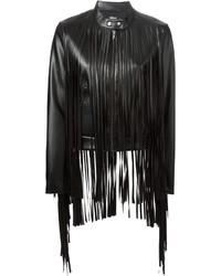 Chaqueta de cuero сon flecos negra de DKNY