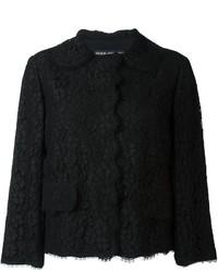 Chaqueta de Encaje con print de flores Negra de Dolce & Gabbana