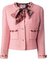 Chaqueta de lana rizada rosada de Chanel