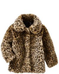 Chaqueta de pelo de leopardo marrón