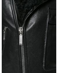 Chaqueta de Piel de Oveja de Cuero Negra de Saint Laurent