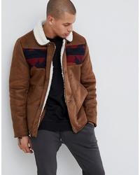 Chaqueta de piel de oveja marrón de ASOS DESIGN
