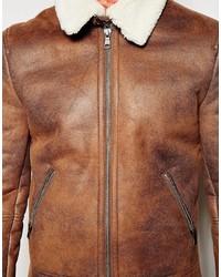 Chaqueta de piel de oveja marrón de Asos