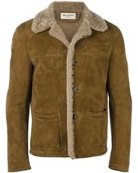 Chaqueta de piel de oveja marrón de Saint Laurent