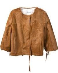 Chaqueta de piel marrón de RED Valentino