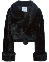 Chaqueta de piel negra de Moschino