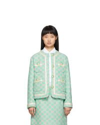 Chaqueta de tweed bordada celeste de Gucci