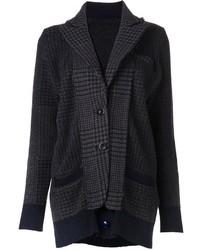Chaqueta de Tweed de Pata de Gallo Gris Oscuro de Sacai