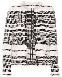 Chaqueta de tweed de rayas horizontales blanca de IRO