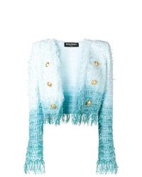 Chaqueta de tweed efecto teñido anudado celeste de Balmain