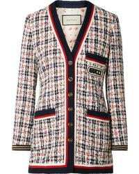 Chaqueta de tweed en blanco y rojo y azul marino de Gucci