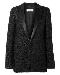 Chaqueta de tweed negra de Saint Laurent