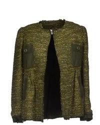 Chaqueta de tweed verde oscuro
