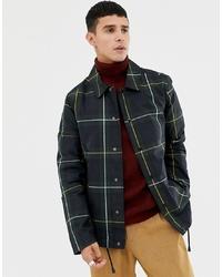 Chaqueta estilo camisa a cuadros verde oscuro de ASOS DESIGN