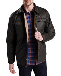 Chaqueta estilo camisa acolchada en marrón oscuro