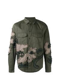 Chaqueta estilo camisa bordada verde oliva de Valentino