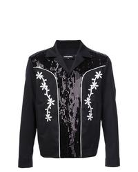 Chaqueta estilo camisa con print de flores negra de DSQUARED2