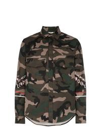 Chaqueta estilo camisa de algodón de camuflaje verde oliva de Valentino