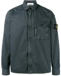 Chaqueta estilo camisa de algodón en gris oscuro de Stone Island