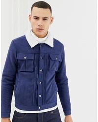 Chaqueta estilo camisa de ante azul marino