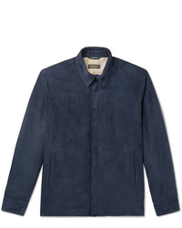 Chaqueta estilo camisa de ante azul marino de Loro Piana