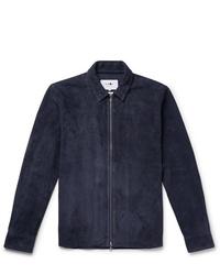 Chaqueta estilo camisa de ante azul marino de Nn07