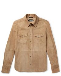 Chaqueta estilo camisa de ante marrón claro de Tom Ford
