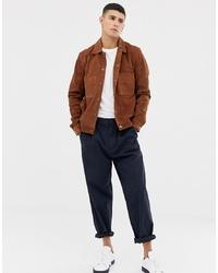Chaqueta estilo camisa de ante marrón de Selected Homme