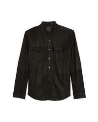 Chaqueta estilo camisa de ante negra
