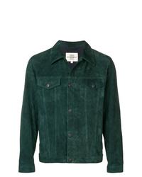 Chaqueta estilo camisa de ante verde oscuro
