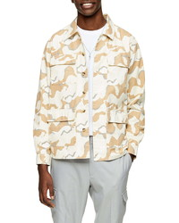 Chaqueta estilo camisa de camuflaje en beige