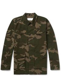 Chaqueta estilo camisa de camuflaje verde oliva de Officine Generale