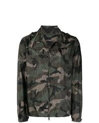 Chaqueta estilo camisa de camuflaje verde oscuro de Valentino