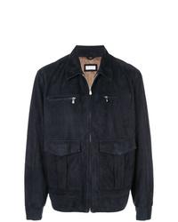 Chaqueta estilo camisa de cuero azul marino de Brunello Cucinelli