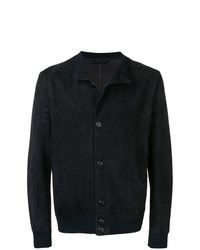 Chaqueta estilo camisa de cuero azul marino de Giorgio Armani