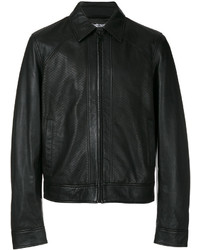 Chaqueta estilo camisa de cuero negra