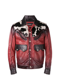 Chaqueta estilo camisa de cuero roja de DSQUARED2