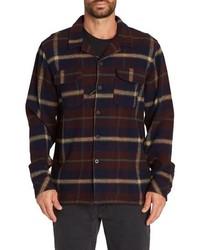 Chaqueta estilo camisa de franela de tartán azul marino