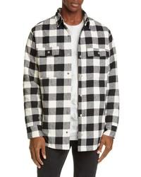 Chaqueta estilo camisa de franela de tartán en blanco y negro