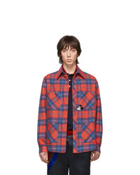 Chaqueta estilo camisa de franela de tartán roja de Gucci