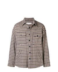 Chaqueta estilo camisa de lana a cuadros marrón claro de Golden Goose Deluxe Brand
