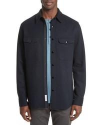 Chaqueta estilo camisa de lana azul marino