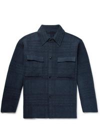 Chaqueta estilo camisa de lana azul marino de Jacquemus