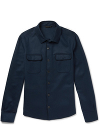 Chaqueta estilo camisa de lana azul marino de Loro Piana