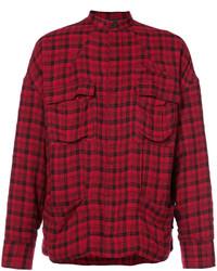 Chaqueta estilo camisa de lana burdeos