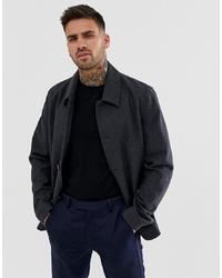 Chaqueta estilo camisa de lana en gris oscuro de ASOS DESIGN